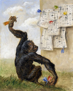 Monkey throwing darts at a copy of the Financial Times
