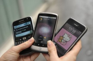 A BlackBerry, a Google phone Smart phone 'Nexus One' and an IPhone